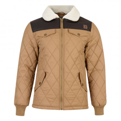 Kangol Ranger Sherpa Collar Quilt Padded Jacket Curry