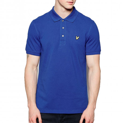 Lyle & Scott Vintage Men's Polo Shirt Saltire Blue