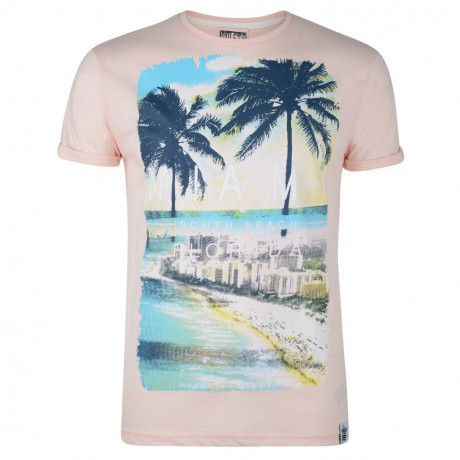 Soul Star Crew Neck Print T-shirt Miami South Beach Florida Pink