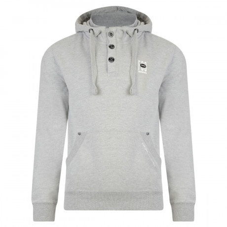 Firetrap Overhead Button Neck Men's Perus Hoodie Grey Marl | Jean Scene