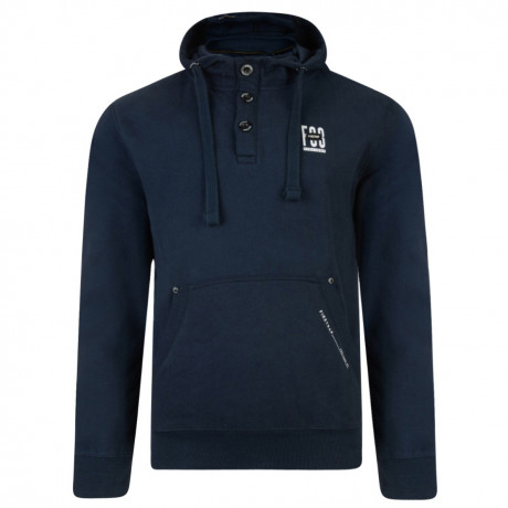 Firetrap Overhead Button Neck Men's Perus Hoodie Navy | Jean Scene