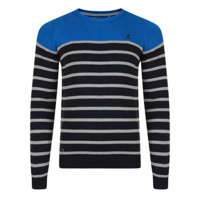 Kangol Crew Neck Guarded Striped Knit Jumper Blue