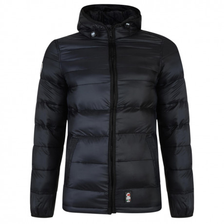 Crosshatch Rabble Hooded Padded Winter Puffer Jacket Caviar
