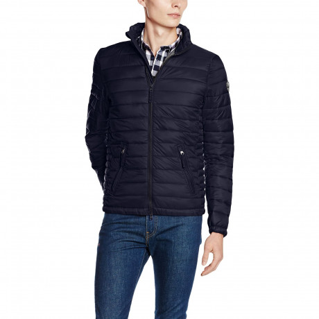 Crosshatch Quilted Padded Puffer Jacket Total Eclipse Blue | Jean Scene