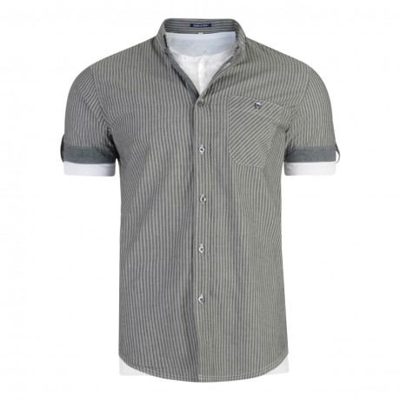 Threadbare KMT062 Stripe Shirt T-Shirt Set Short Sleeve Grey | Jean Scene