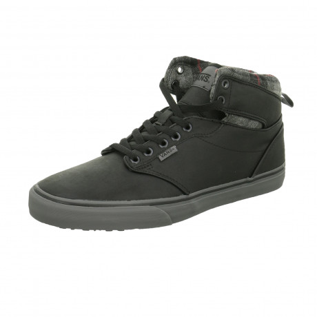 Vans Men's Atwood High Top Leather Shoes Flannel Black | Jean Scene