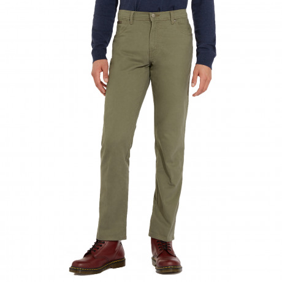 Wrangler Texas Stretch Soft Fabric Jeans Dusty Olive | Jean Scene
