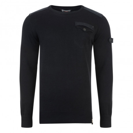 Crosshatch Winchmore Crew Neck Cotton Jumper Black