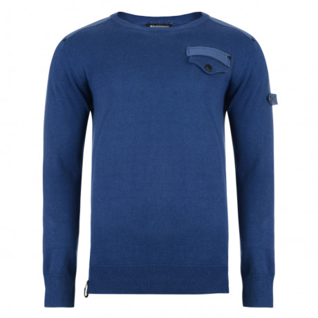 Crosshatch Winchmore Crew Neck Cotton Jumper Blue Ashes