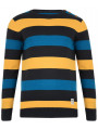 Crosshatch Crew Neck Striped Knit Jumper Katter Ashphalt