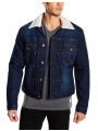 Wrangler Sherpa Fur Denim Trucker Jacket Born Ready Blue