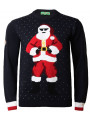 Novelty Christmas Jumper Crew Neck Gangsta Santa Navy