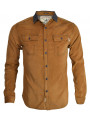 Soul Star Long Sleeve Soft Cord Shirt Tan Beige