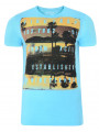 Firetrap Crew Neck Sunset Print T-shirt Sky Blue