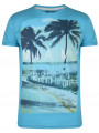 Soul Star Crew Neck Print T-shirt Miami South Beach Florida Blue