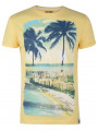 Soul Star Crew Neck Print T-shirt Miami South Beach Florida Yellow