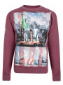 Conspiracy Big Apple NYC New York Sweatshirt Wine Marl