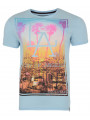 Soul Star Crew Neck Los Angeles Print T-shirt LA Sky Blue