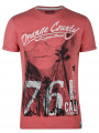 Soul Star Crew Neck Print T-shirt Cali Laguna Beach Red