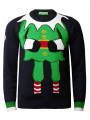 Novelty Christmas Jumper Crew Neck Elf Navy Blue