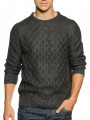 Soul Star Crew Neck Knitted Jumper Charcoal Melange