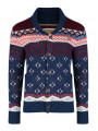 Rock & Revival Lumox Fair Isle Cardigan Navy Blue