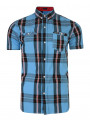 Firetrap Dunloe Short Sleeve Check Shirt Delfi Blue