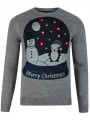 Light Up Novelty Christmas Jumper Crew Neck LED Snow Globe Grey