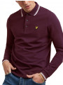 Lyle & Scott Tipped Long Sleeve Polo Shirt Burgundy/White
