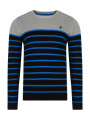 Kangol Crew Neck Guarded Striped Knit Jumper Grey Marl