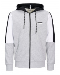 Jack & Jones Core Zip Up Regular Hoodie Long Sleeve Light Grey | Jean Scene