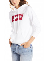 Levis Womens Graphic Sport Housemark Hoodie Short Sleeve White | Jean Scene