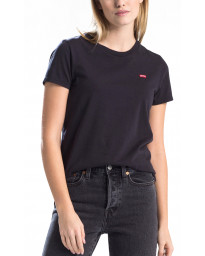 Levi's Womens Plain T-Shirt Short Sleeve Mineral Black | Jean Scene