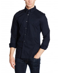 French Connection Pyramid Long Sleeve Shirt Marine Blue | Jean Scene