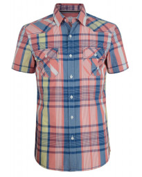 Esprit Slim Fit Short Sleeve Check Shirt Peach