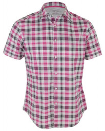 Esprit Regular Fit Short Sleeve Check Shirt Pink