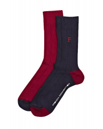French Connection Fluro Brights Socks Marine Blue & Ayre Red - 2 Pack