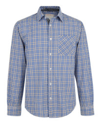 Esprit Regular Fit Long Sleeve Check Shirt White Blue