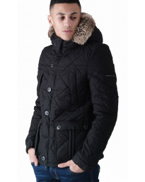 Duck and Cover Bazza Padded Parka Jacket Black | Jean Scene