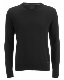 Threadbare V-Neck Cotton Knit Jumper Jet Black | Jean Scene