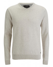 Threadbare V-Neck Cotton Knit Jumper Oatmeal Marl | Jean Scene