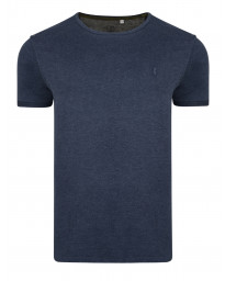 Ringspun Burn Crew Neck Cotton Plain T-shirt Navy | Jean Scene