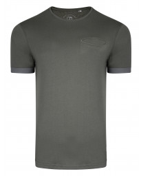 Ringspun Clifton Crew Neck Cotton Plain T-shirt Charcoal | Jean Scene