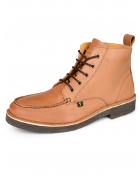 Farah Mens High Leather Mid East Boots Tan Shoes | Jean Scene