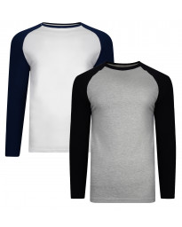 Smith & Jones Men's Hertz Long Sleeve Raglan T-Shirt 2 Pack Grey Marl/White | Jean Scene