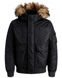 Jack & Jones Men's Globe Puffer Bomber Jacket Black | Jean Scene