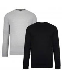 Smith & Jones Men's Juke Crew Neck Sweatshirt 2 Pack Black/Light Grey Marl | Jean Scene