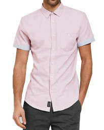 Threadbare Chester Plain Pattern Shirt Short Sleeve Oxford Pink | Jean Scene