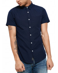 Threadbare Simon Print Pattern Shirt Short Sleeve Navy Blue | Jean Scene