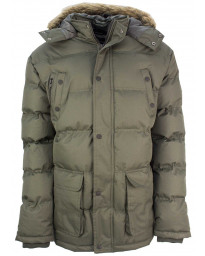 Soul Star Winter Padded Puffer Jacket Olive | Jean Scene